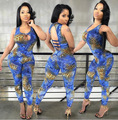 Hot fashion design 2015 summer jumpsuit women sleeveless sexy jumpsuit novelty print jumpsuit