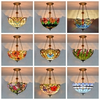 Baroque Tiffany Pendant lights Stained Glass Chain Lighting Suspended Luminaire for Home Parlor Dining Room Lamps E27 110 240V