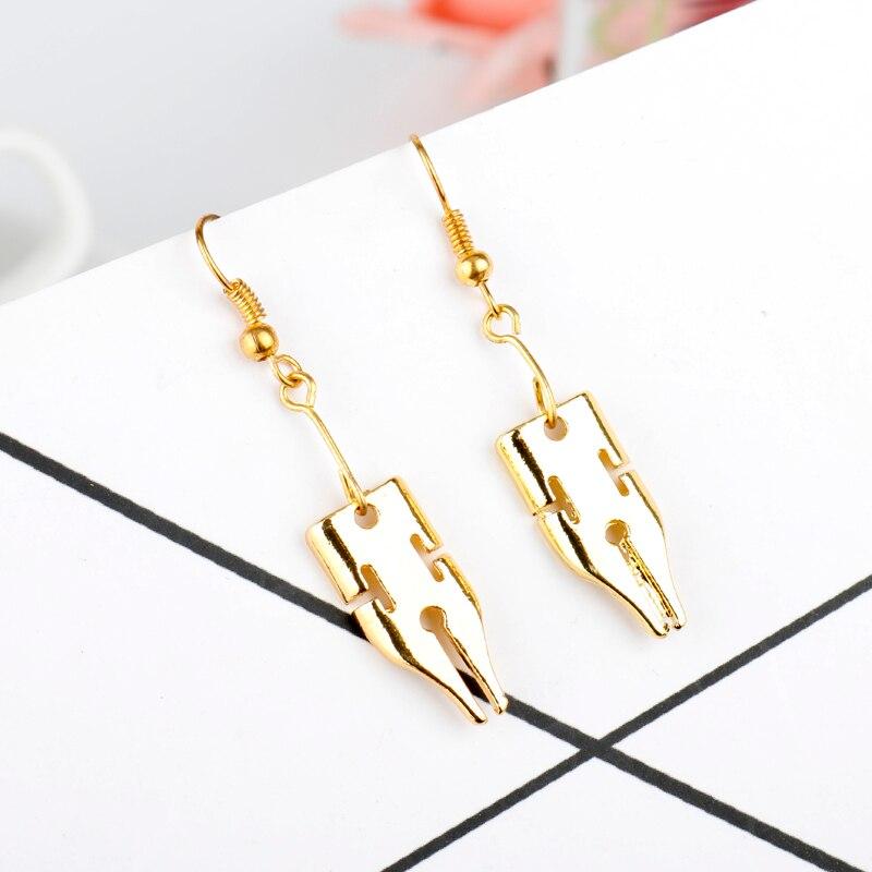 MQCHUN Writing Pen Nib Writer Drop Earring For Women Girls New Fashion Gold Color Dangle Earrings Christmas Party Gift -15