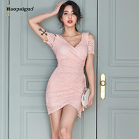 Women Bandage Summer Dress Plus Size Pink Short Sleeve Off the Shoulder V neck Sexy Club Lace Mini Dress Casual Bodycon Dresses