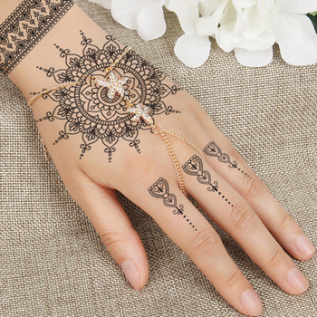 1PC Fashion Flash Waterproof Tattoo Women Black Henna Jewel Lace  Sexy Secret Arm Body Art Flower Temporary Tattoo Sticker 2