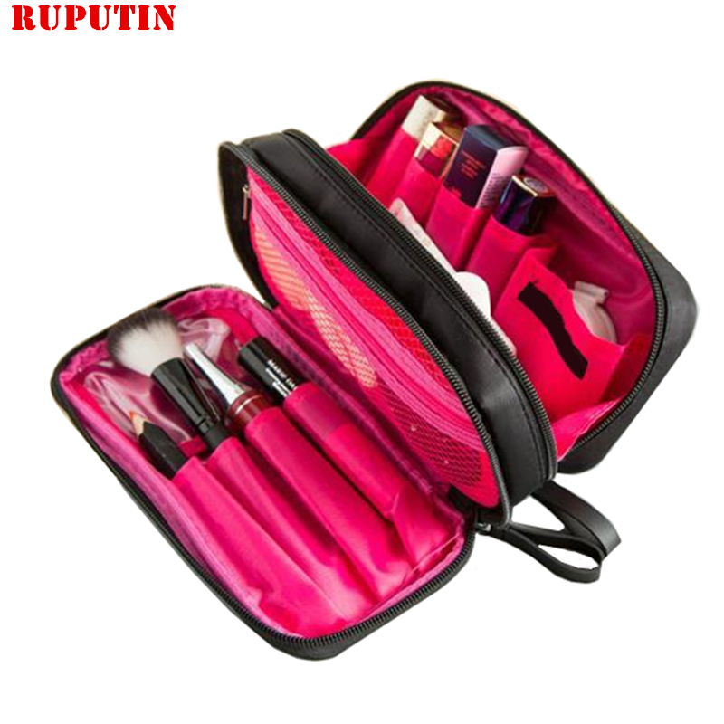 RUPUTIN Double Layer Cosmetic Bag Makeup Cases Brush Case Black Waterproof Professional Travel Organizer Make Up Toiletry Kit