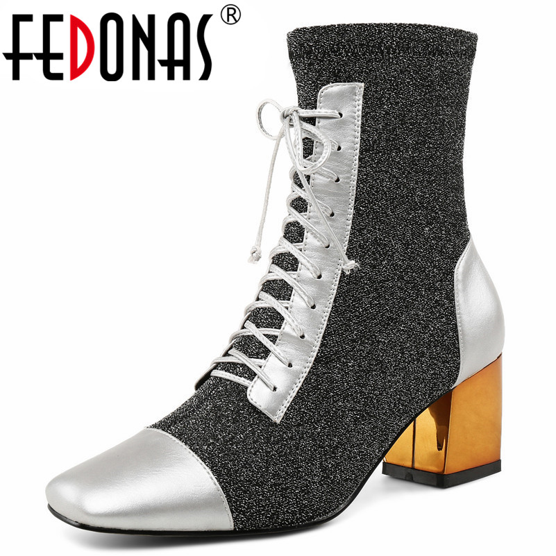 FEDONAS New Women Mid-calf Boots Sexy High Heels Party Wedding Shoes Woman Autumn Winter Club Prom Pumps Ladies High Boots fedonas 1new women mid calf boots autumn winter warm high heels shoes woman pointed toe elegant bling party prom dancing pumps
