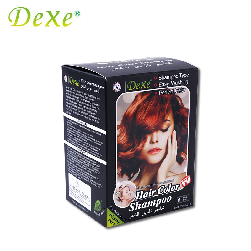 5pcslot Dexe Wine Red Hair Color Shampoo Hair Dye Easy Washing