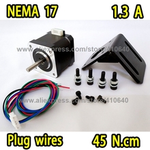 NEW ARRIVAL Nema17 Stepper motor 17HS15-1304S Plug Type with 1.8 degree 1.3 A Current  45 N.cm Torque 4 Wires FREE BRACKET