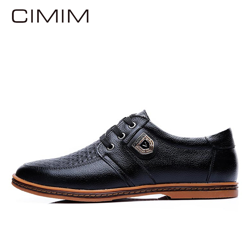 CIMIM Men Shoes Luxury Brand Hot Sale Breathable Soft Men Casual Leather Shoes Lace-up Flat Black Mens Shoes Large Sizes 38-48 hot sale men s shoes casual shoes for men winter autumn low top patchwork canvas fashion lace up mens classic casual shoes
