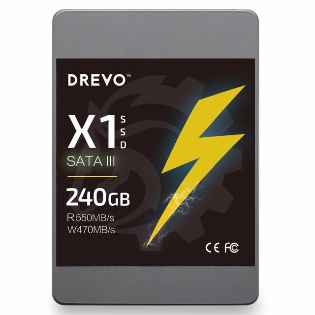 """Drevo X1 SSD 240 GB 2.5 """"Pouces SATA3 Solid State Drive SSD Interne pour PC Portable Vitesse de Lecture 550 MB/s Soutien SATA1 SATA2"""