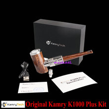 100% original kamry k1000 más e-pipe kit 1000 mah diseño fumar hookah pluma de madera e tubería cigarrillo electrónico cachimba