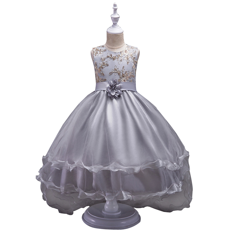 Girl Flower Embroidered Dress Kids Pageant Party Wedding Bridesmaid Ball Gown Prom Princess Formal Dress 5 6 8 10 12 14 16 year new flower girls party dress embroidered formal bridesmaid wedding girl christmas princess ball gown kids vestido