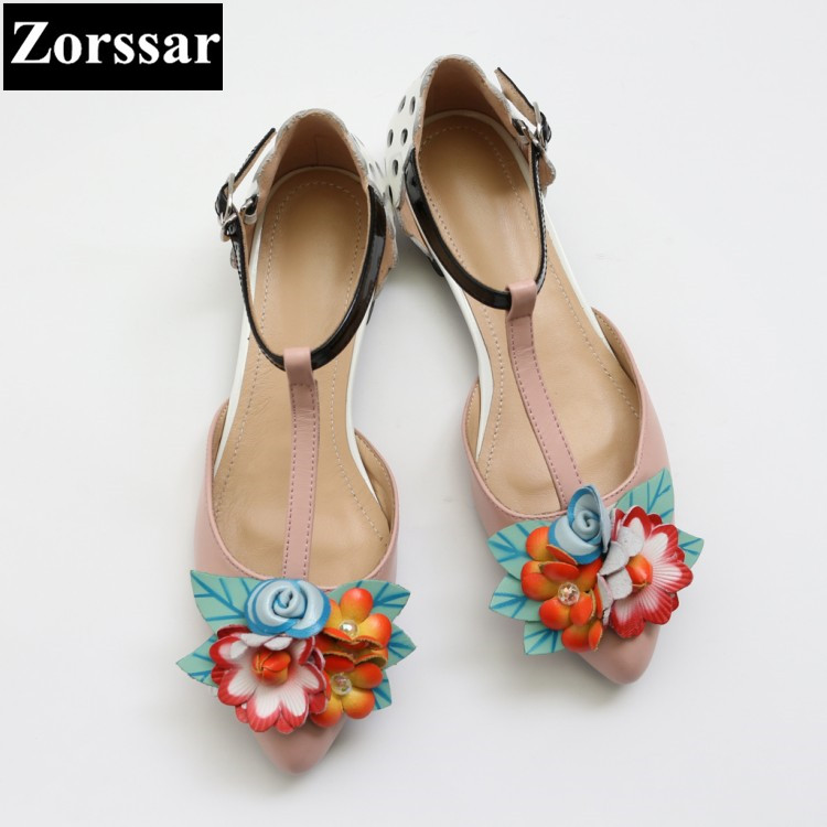 ФОТО 2017 NEW Woman Summer shoes Genuine leather Fashion flowers flat pointed toe sandals womens Casual women flats T-Strap shoes