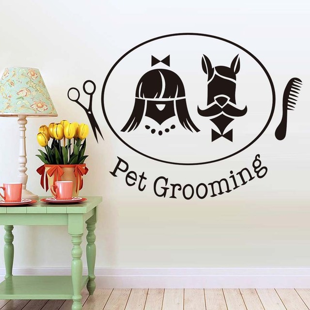 Hairdressing Pet Funny Wall Sticker Removable Dog Grooming Salon Wallpaper Kids Room Decals Pet Shop Decor  sc 1 st  AliExpress.com & Hairdressing Pet Funny Wall Sticker Removable Dog Grooming Salon ...