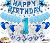 Carta feliz Aniversário balões Folha Menino 1st Birthday Party Decoration com 12 polegadas Balões De Látex Balões do Partido Do Chuveiro Do Bebê|Decorações de festas DIY|   -