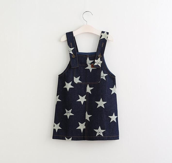 Y61218342 Retail 2017 Summer Girls Dresses Denim Suspender Print Stars Girl Overall Lolita Cute Kids Clothes