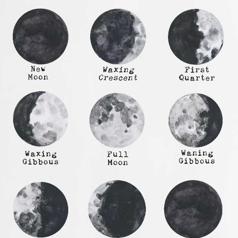 Space Lunar Cycle Modern Poster Art Prints , Moon Phase Art Canvas Painting Home Room Science Lunar Phases Wall Pictures Decor