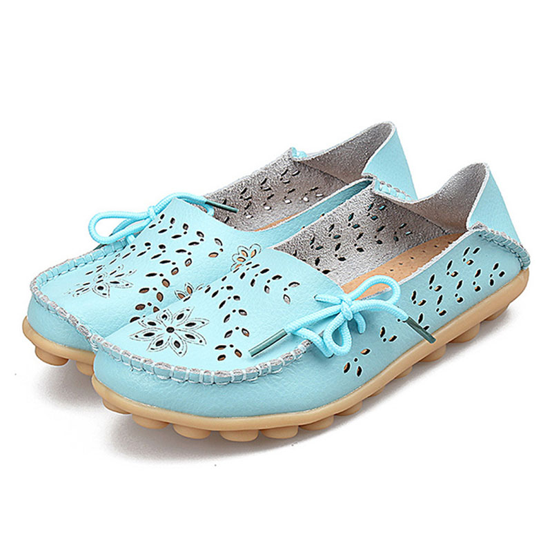 New Women Flats Real Leather Shoes Mother Slip On Leisure Flats Female Shoes Driving Casual Footwear