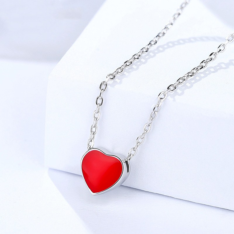 Ms Betti Tiny Red Heart pendant necklace S925 for women and girls birthday  and teachers' gifts
