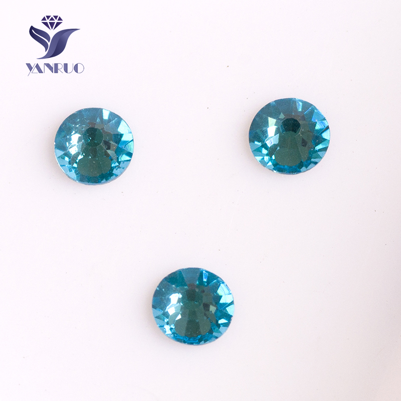 YANRUO #2028NoHF SS16 Aquamarine 1440Pcs No Hotfix FlatBack Crystal Strass Loose Rhinestone High Quality