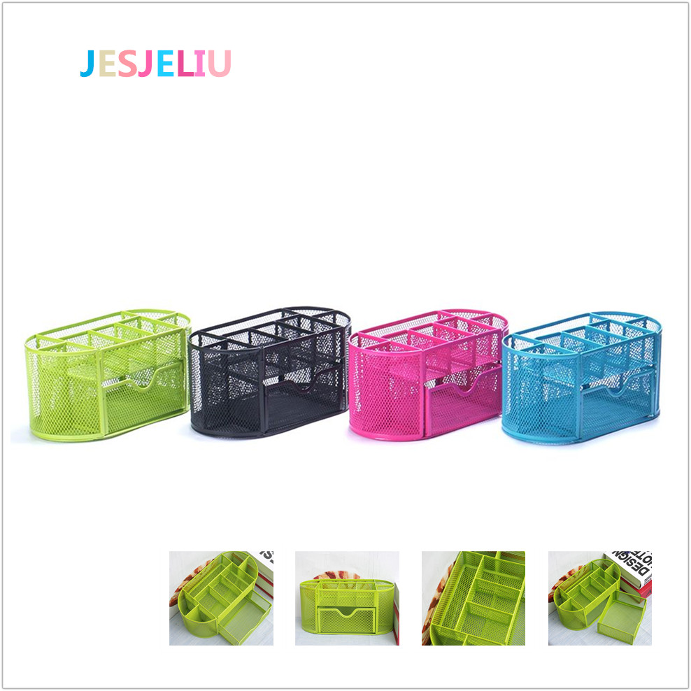 New Style Colorful Desk Organizer Pen Holder Pen Container Pencil Case Box Multifuction 9 Cells Metal Mesh Desktop Office Tool 1pc 96grid bag pen holder paint brush holder watercolor oil acrylic painting tool pencil case stationary art easel container