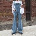 Дамы Джинсовые Комбинезоны Женщин Длинные Flare Джинсы Комбинезоны Для Женщин Свет/Темно-Синий Клеш Подтяжк Брюки Джинсы Femme Macacao