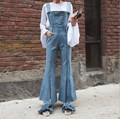 Ladies Denim Overalls Women Long Flare Jeans Jumpsuits For Women Light/Dark Blue Bell Bottom Suspender Pants Jeans Femme Macacao