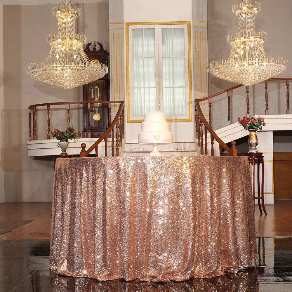 120 in Round Sequin Tablecloth for Wedding Party Rose Gold/Gold/Silver/Champagne Table Cloth Decoration Bling Sequin Table Cover
