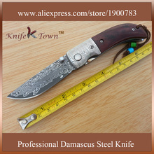 DS055 new arrival 2016 damascus steel blade and rosewood handle camping folding gift knife navajas supervivencia