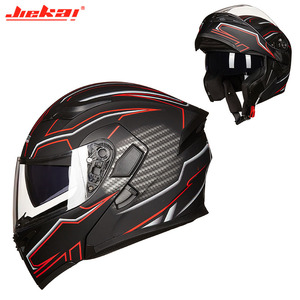Image 2 - Kış DOT JIEKAI JK902 motosiklet kask çift Lens motosiklet MOTO Motocross kaskları siyah beyaz kırmızı M L XL XXL