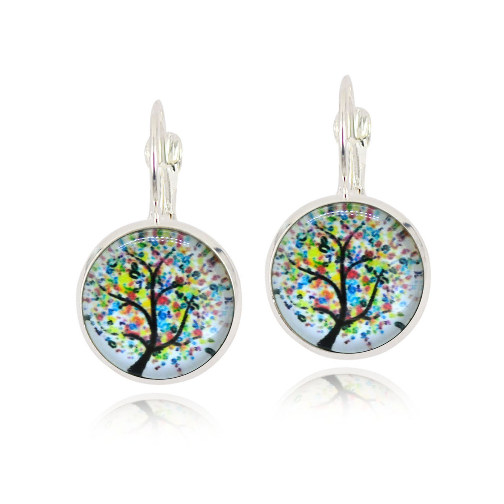 Charms Vintage Life Of Tree Hoop Earring French Lever Back Glass Cabochon  Copper Earring For Women