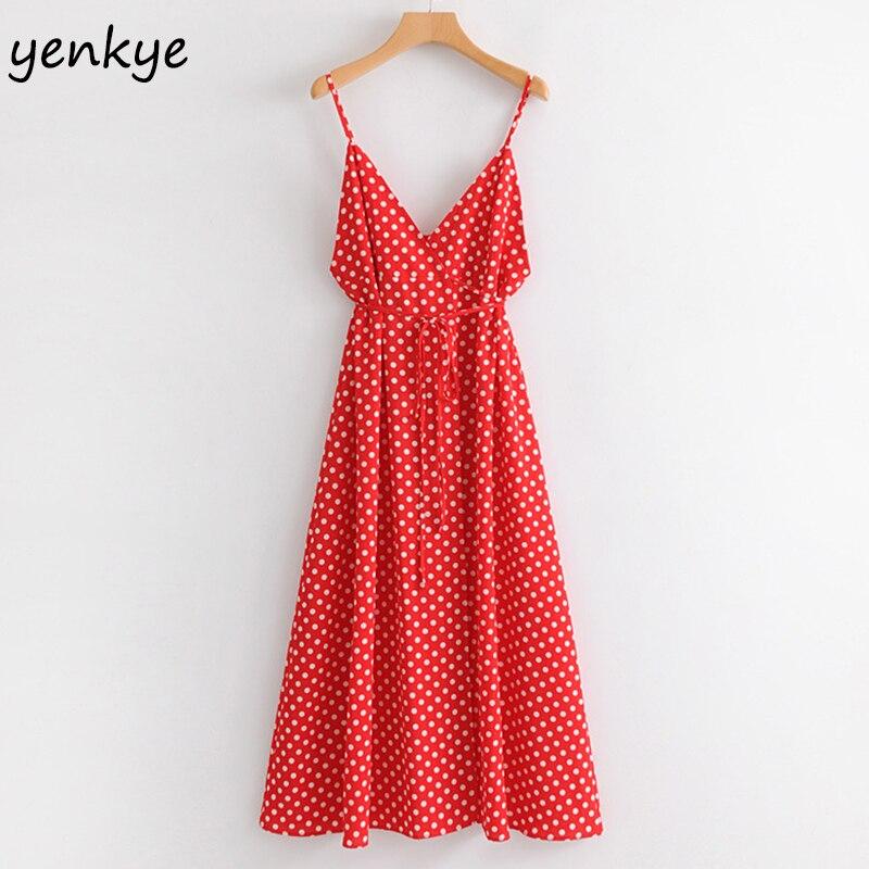 Summer Dress 2018 Women Polka Dot Red Sexy Sling Dress Lady Sleeveless V Neck With Belt Beach Dress High Waist Split Long Dress