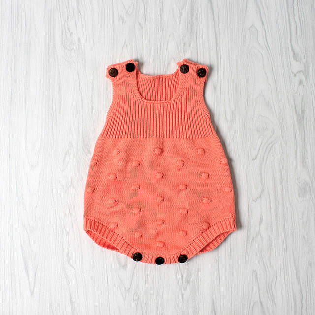 1cce92688f21 Soft Crochet Romper Spring Baby Knitted Romper Sleeveless Cotton Plaid  Overall Infant Onesie Playsuit D0142