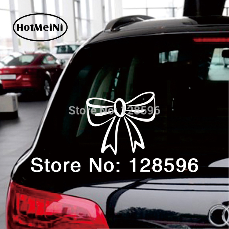 HotMeiNi Bow Tie Girl Pink Cute Sexy Hello Kitty Car Decals Funny Bumper Stickers Cool Oem Rear Windshield Car Sticker