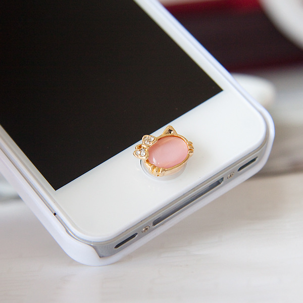 Iphone 6 Home Button Design Part - 21: Crown Design 3D Cat Crystal Bling Diamond Home Button Sticker For Iphone 6  6s Mobile Phone