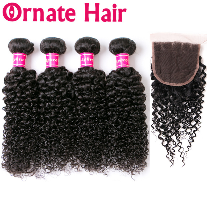 Mongolian Kinky Curly Hair Bundles With Closure 4 Bundles Non Remy Human Hair Weave 4 4