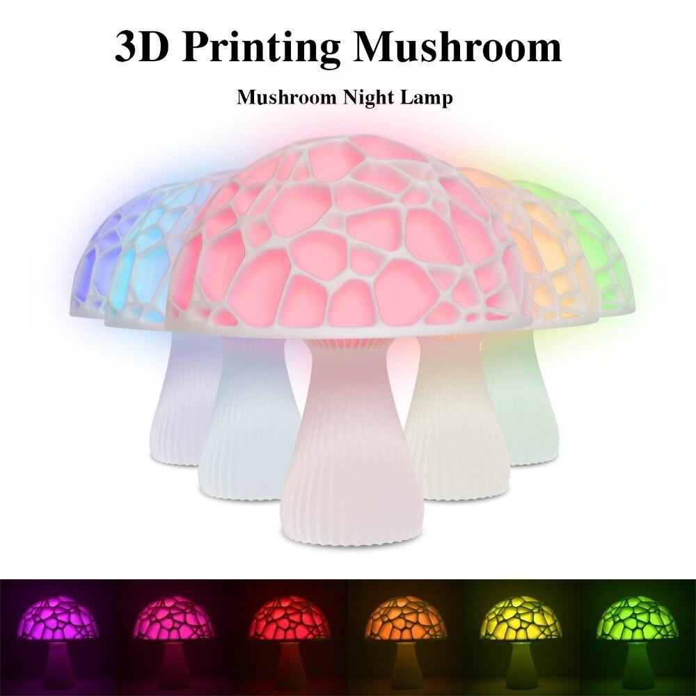 3D imprimer champignon veilleuse Rgb lampe de chevet Rechargeable veilleuses pour chambre télécommande lampe de chevet Led Dimmable