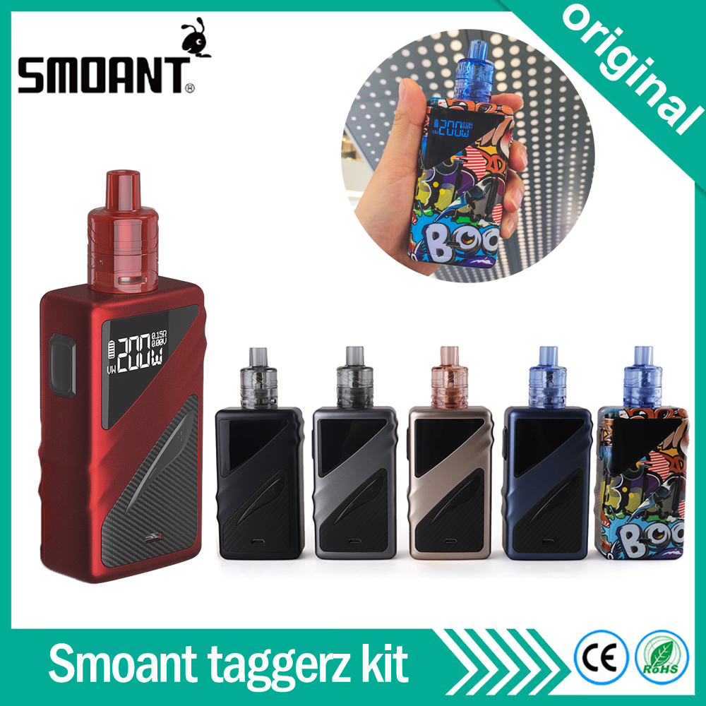 Original Smoant Taggerz Kit 200W TC Box Mod With 2ml Taggerz Disposable Tank By Dual 18650