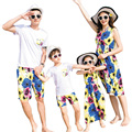 New Fashion Summer Family clothes Mother Daughter dresses Floral dress father son Sets short sleeve T shirt & Pants