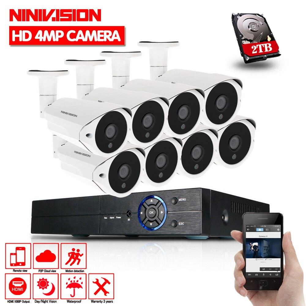 HD AHD Kit 4.0MP 4MP 8CH HDMI 1080 p DVR Sistema de Câmeras de Segurança Dia 8*2560*1440 p kits de Câmera de Visão noturna CCTV Home Security 4MP