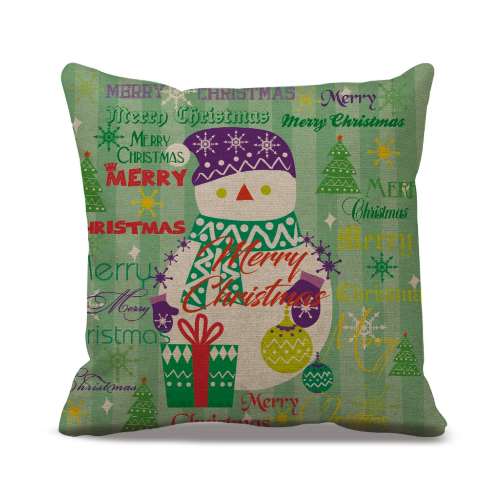 Green Color Snowman Christmas Trees Pattern Home Pillow Case Cotton ...