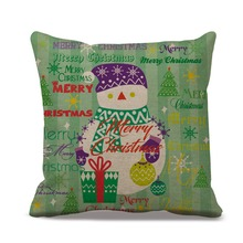 Green Color Snowman Christmas Trees Pattern Home Pillow Case Cotton Linen Vintage Xmas Decoration Presents for Living Room