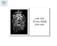 SPLSPL Inspirująca Cytat Płótnie Malarstwo Plakat Zwierząt Lion Sztuki Obrazów Ściennych Do Sypialni i Pokoju Biurowego ornamentyki zdjęcia