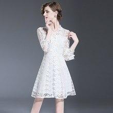e0e963804 XF 2018 Spring Fashion Runway Designer Vestido do Verão Das Mulheres Com  Decote Em V Com a Água de Flor Solúvel Oco Sino Mangas .
