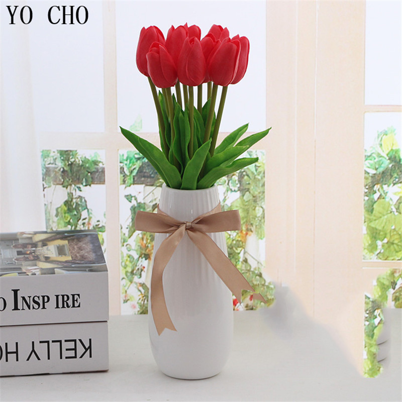 YO CHO 3 unids Mini Tulipanes Flores Artificiales PU Toque Real Flor - Para fiestas y celebraciones - foto 3