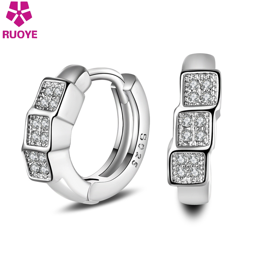 RUOYE Fashion Women Stud Earring Silver Plated Earrings para las mujeres en forma de U Big Square Zircon Ear Jewelry