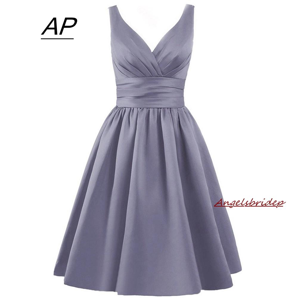 ANGELSBRIDEP Fashion Short Satin Bridesmaid Dresses A Line V Neck Formal Gowns Wedding Party Dresses for Bridesmaid 2021