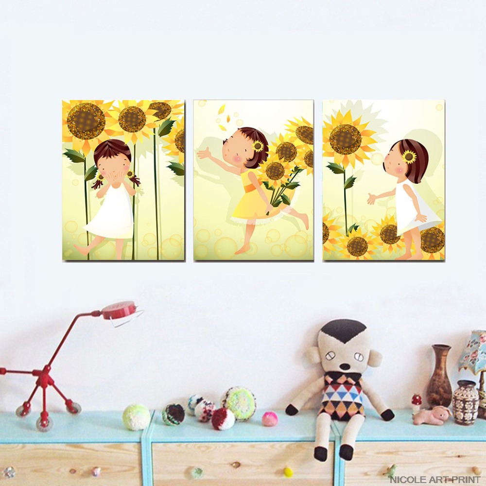 Kawaii Flower Girl Art Canvas Poster Minimalist Cartoon Nursery Wall ...