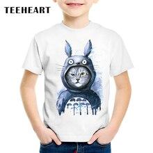 Купить с кэшбэком TEEHEART Summer T shirts Blue Pajamas Cat Boys/girls's Modal T-shirt Printed Short Sleeve 18M-10T Children Casual Clothing TA583