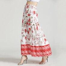BEFORW Boho Floral Print Lace Up Long Skirt Summer Casual Beach Maxi Skirts Womens 2019 Harajuku Vintage High Waist
