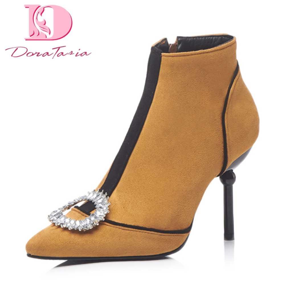 DoraTasia 2018 Best Quality Large Sizes 32-43 Autumn Winter Ankle Boots  Women Shoes Woman 3c9cec627a7a