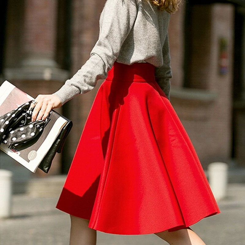 Ladies High Waist A Line Skirt Solid Red White Black Slim Autumn ...
