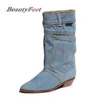 Fashion New Women Low Heel Casual Boots Ladies Mid Calf Jeans Boots Leather Pointed Toe Cowboy Boots Big Size BeautyFeet